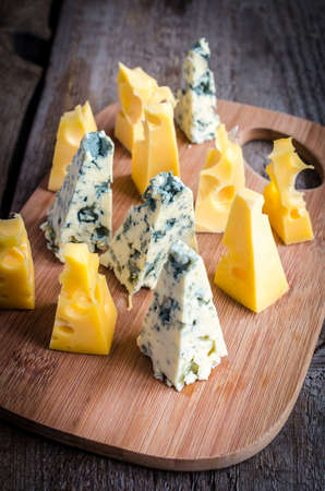 emmental: Blue cheese and emmental Stock Photo
