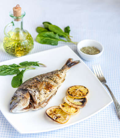 Grilled dorada fish photo