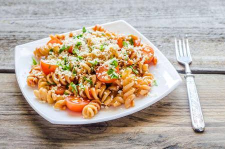 fusilli: whole wheat fusilli pasta Stock Photo