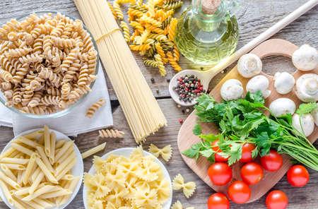 short pasta: Various pasta types