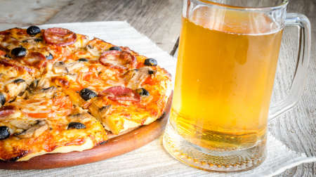pizza with beer photo