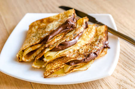 nutella: crepes with chocolate cream Stock Photo