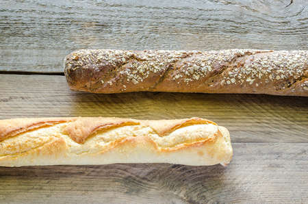 Rye and wheat baguettes photo
