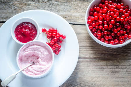 cottage cheese with jam and berries photo