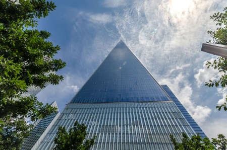 wtc: NEW YORK - JULY 17: Freedom Tower (1 WTC) in Manhattan on July 17, 2014. One World Trade Center is the tallest building in the Western Hemisphere and the third-tallest building in the world. Editorial