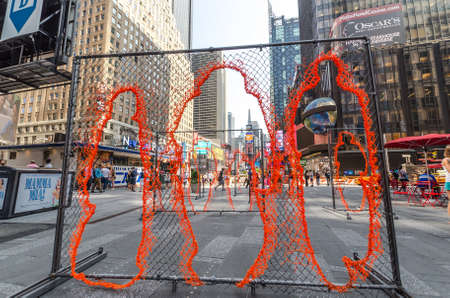 nearness: NEW YORK CITY - JULY 22: Nearness installation by Arles Del Rio In Times Square on July 22, 2014 in New York. The installation is presented by Times Square Arts in partnership with Cuban Artists Fund. Editorial
