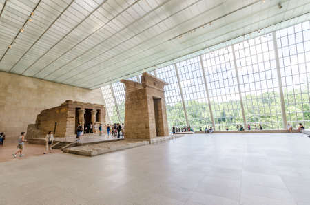 NEW YORK CITY - JUL 17: In the Metropolitan Museum of Arts on July 17, 2014 in New York. Templa of Dendur, Egyptian temple replica in Metropolitan Museum of Art.