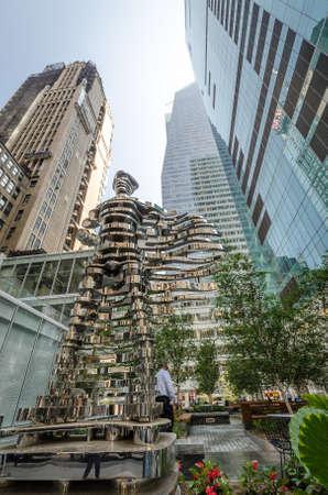 pio: NEW YORK - JUL 22: Superhero sculpture by Antonio Pio Saracino on July 22, 2014 in Bryant Park, New York. Bryant Park is a 9.603-acre public park located in the New York City borough of Manhattan.