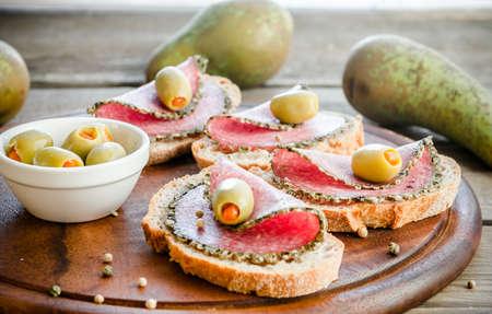 Italian salami with pears photo