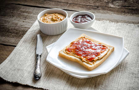 sandwich with peanut butter and jelly photo