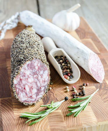 molded: saucisson and salami with bread