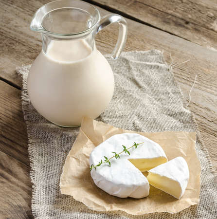 glass of milk: Camembert cheese