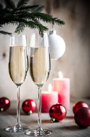 champagne under christmas tree photo