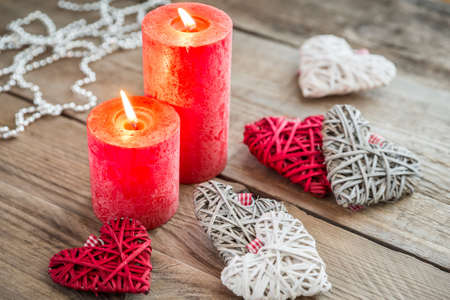 candlelit: decorated hearts Stock Photo