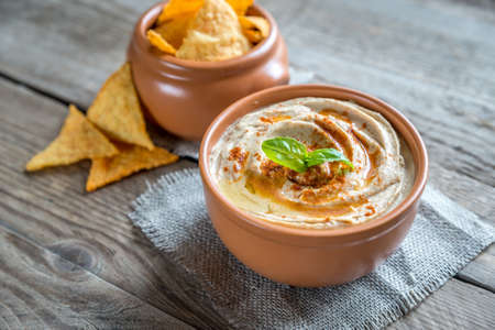 corn chips: Hummus with corn chips