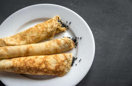caviar: crepes with black caviar