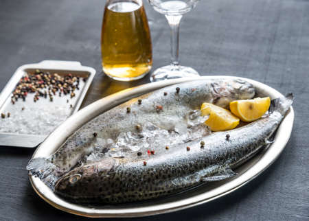 Trout and wine photo