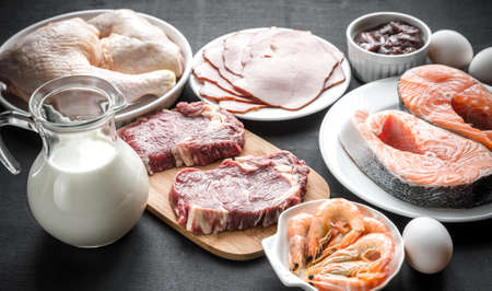 group of fish: ingredients for protein diet Stock Photo