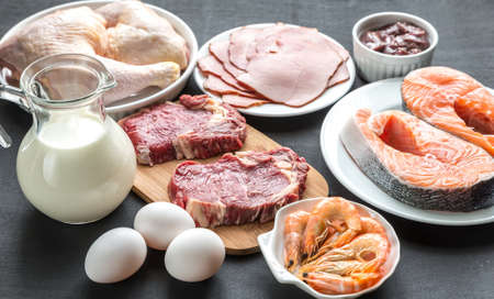 protein diet products Stock Photo