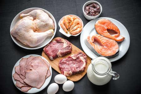 ingrediënten voor eiwitdieet Stockfoto