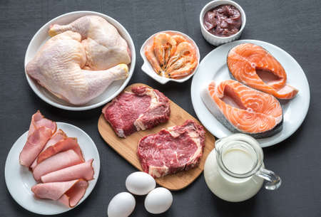 three phase: protein diet products Stock Photo