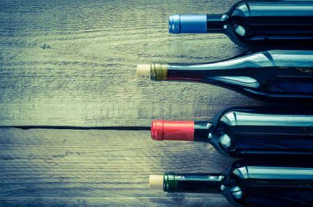 flessen rode wijn Stockfoto