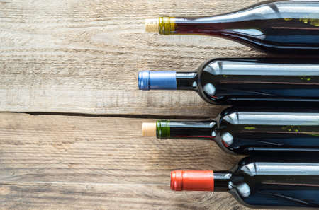 Bottles with red wine Stock Photo