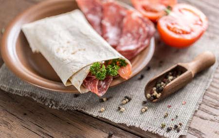 tortilla: tortilla with salami