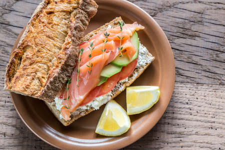 wholegrain mustard: sandwich with salmon and cheese