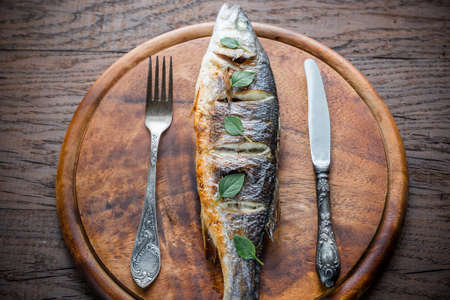 seabass: Grilled seabass Stock Photo