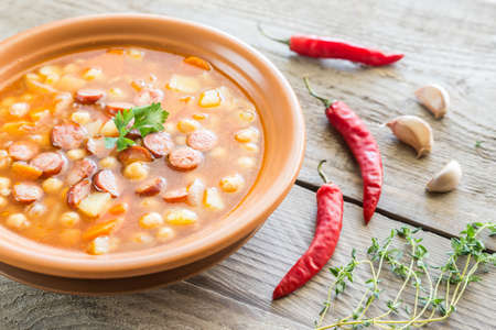 smoked sausage: Soup with chickpeas and smoked sausage