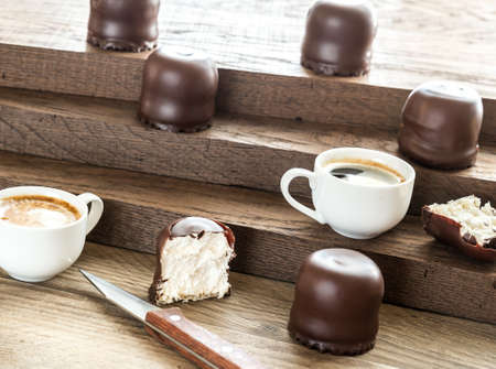 cafe bombon: Melcochas del chocolate Foto de archivo