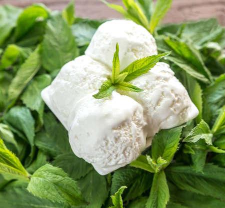 Ice cream with mint photo