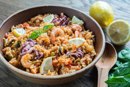 bowl with rice: Seafood paella