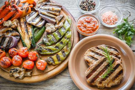 carne roja: verduras asadas con filete de carne