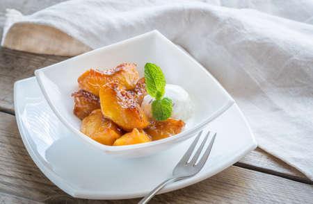 caramelized: Caramelized peaches