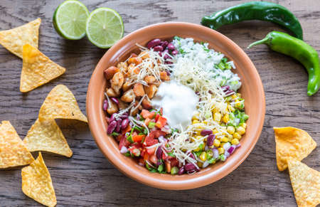 bowl with rice: Chicken burrito bowl Stock Photo