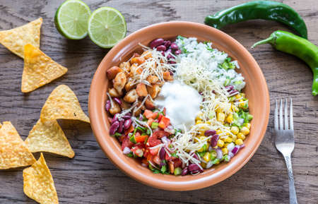 chicken rice: Chicken burrito bowl Stock Photo