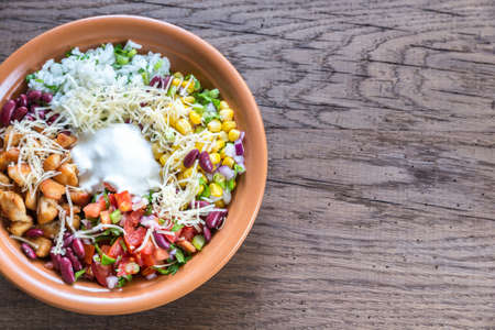 bowl with rice: Burrito bowl Stock Photo