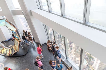 wtc: NEW YORK CITY - JULY 13: ONE WORLD OBSERVATORY on July 13, 2015 in New York, USA. Opened in May 2015, the observatory is located on floor 100-102 of One WTC building.