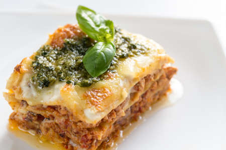 tomato sauce: Lasagna Stock Photo