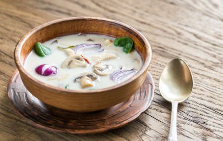 Tom Kha Gai Chicken Coconut Soup Archivio Fotografico