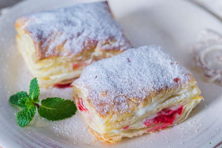 Mille-feuille with fresh cherry Stock Photo