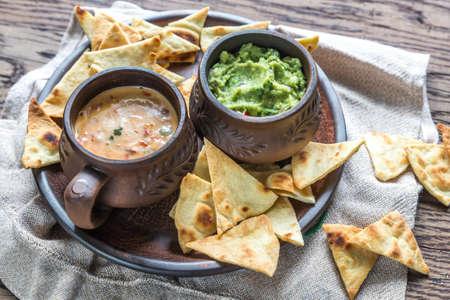 Queso and guacamole