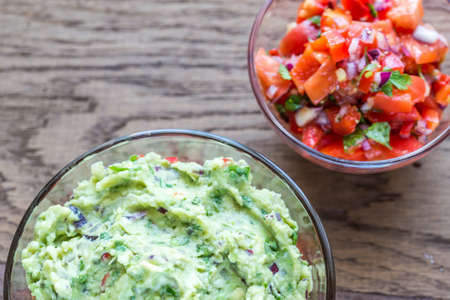 chips and salsa: Guacamole and salsa