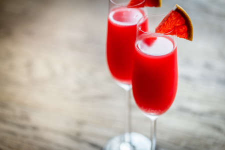 grapefruit: Mimosa cocktail Stock Photo