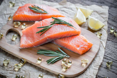 omega3: Salmon steaks and omega-3 pills