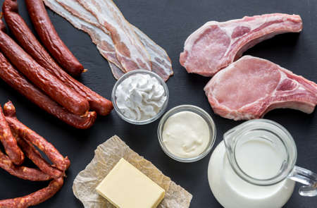 saturated: Saturated fat sources Stock Photo
