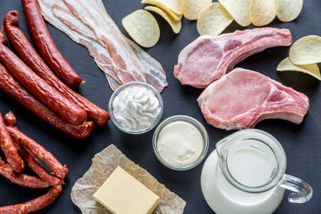 Saturated fat sources Stock Photo