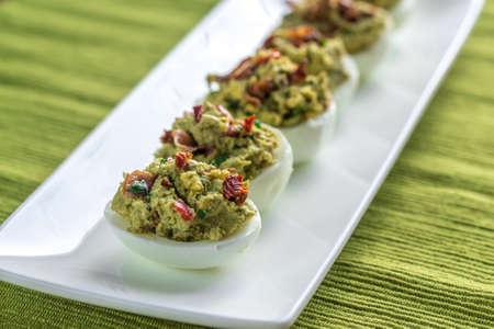 guacamole: Bacon guacamole deviled eggs